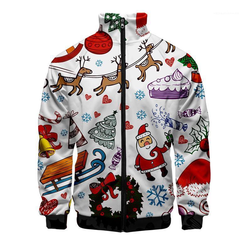 Designer Sweats à capuche Cardigan pied de col à manches longues d'hiver Mens Hoodies Casual Male Appare avec fermeture éclair de Noël Mens 3D