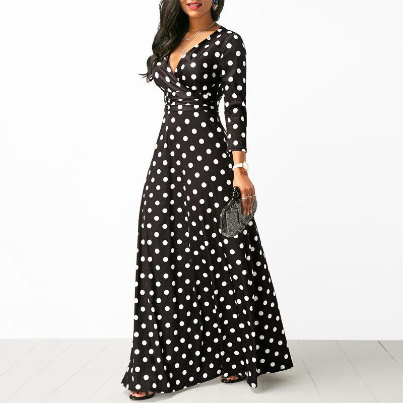 Women Polka Dot Long Sleeve Boho Dress Elegant Vintage Women Dresses Evening Party V Neck Maxi Long Dress Fashion Ladies Dresses