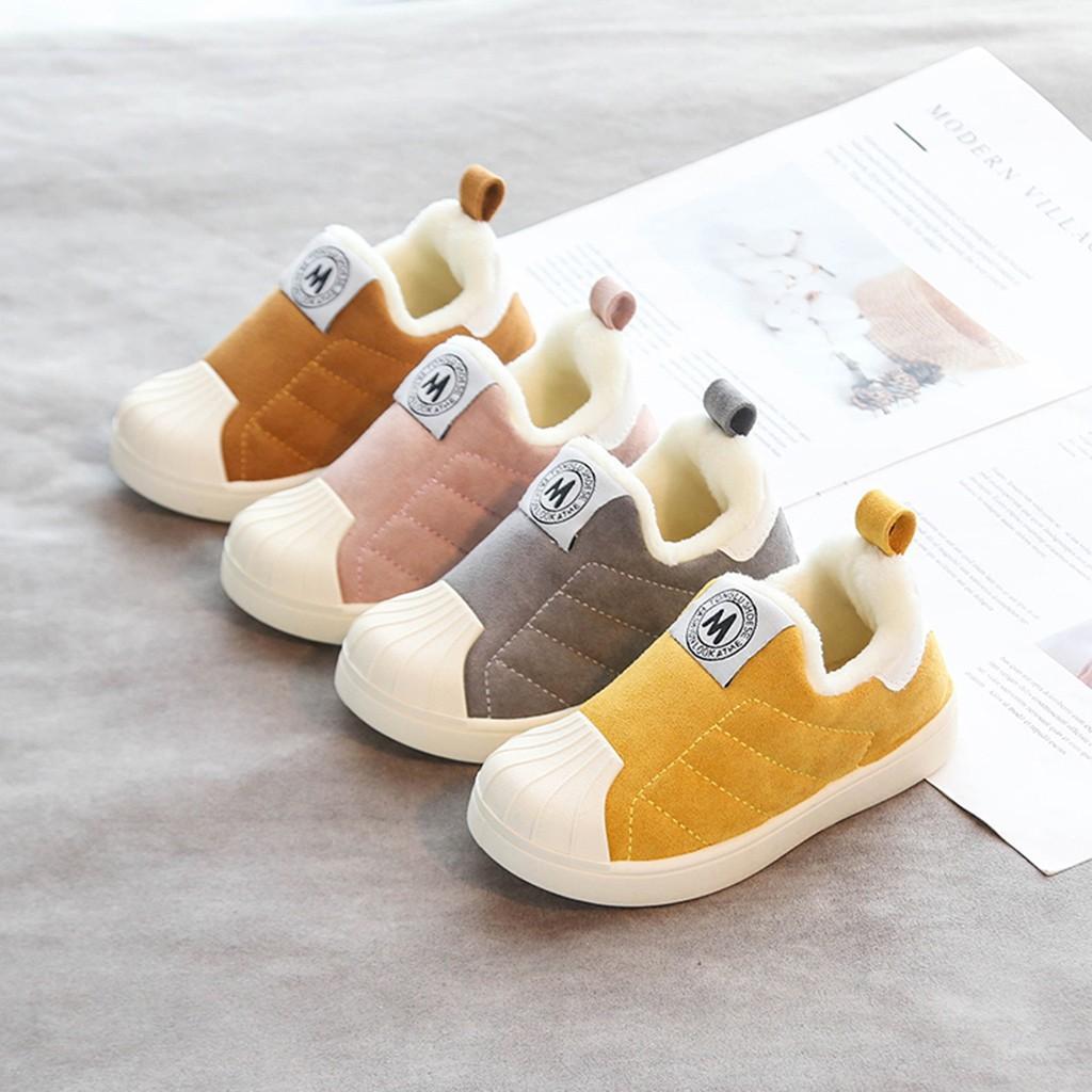 2019 дети хлопок обувь противоскользящие теплая зима шить скольжение-на Дети обувь для девочки мальчики мягкий Флок Casaul обувь