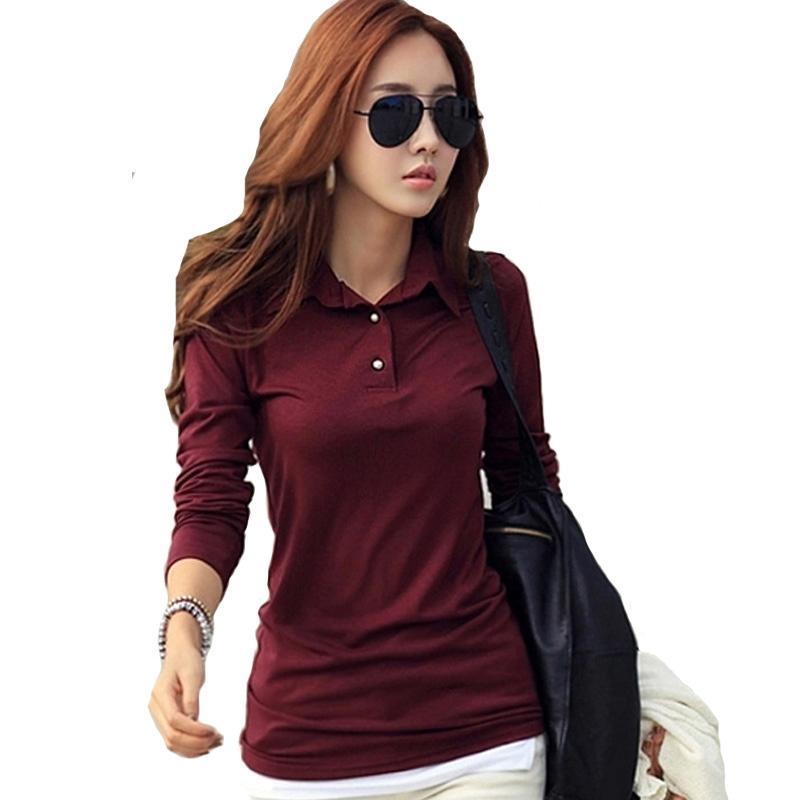 Japon Corée Printemps Automne Hiver Casual Polo Femmes New manches longues Slim Polos Mujer Noir Blanc Rouge Femmes Tops Lady Femme shirt
