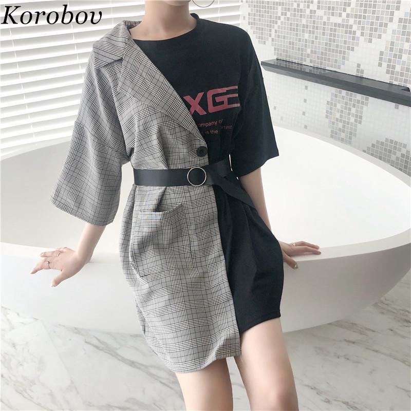 2019 nueva llegada camisa de manga corta de Corea del remiendo elegante T verano delgado de la manera de la letra Imprimir Casual camisas larga T 75126 LY191217