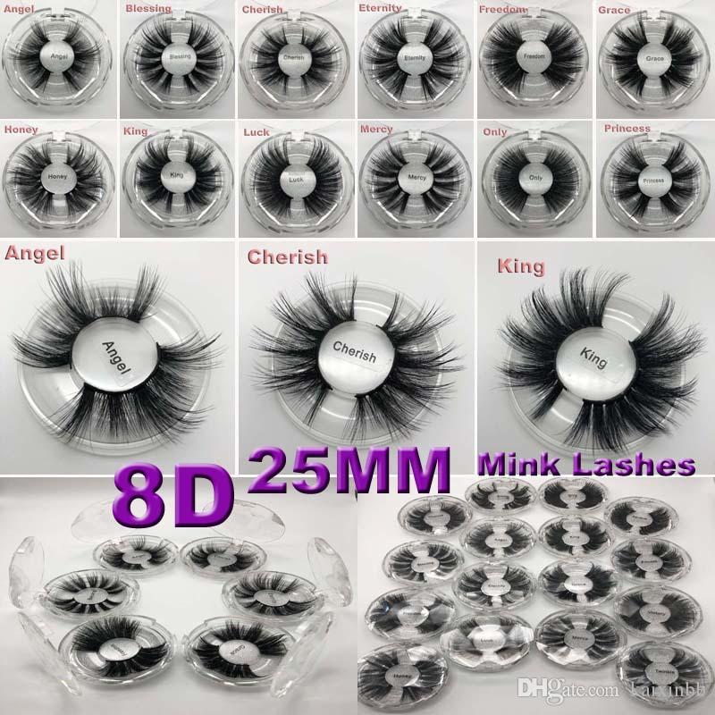 16 أنماط قسط 25mm 5D المنك الرموش لينة الطبيعية سميكة الصليب اليدوية 3D الرموش المنك مع مربع التعبئة والتغليف رمش