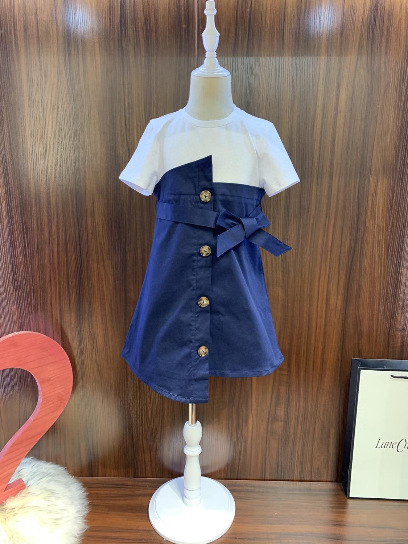 Yaz Kız yeni stil hissediyorum rahat Klasik serisi patchwork Basit ve cömert elbise 032.801