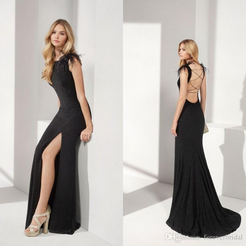 Sexy Black Mother Of Bride Dresses High Split Sleeveless Mother's Dresses Backless Floor Length Formal Prom Dresses