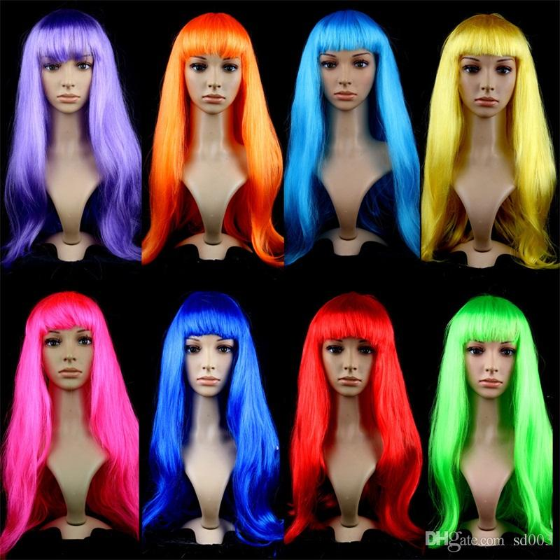 Long Straight Hair Wig Pure Color Performing Wigs Unisex Dress Up Headgear For Masquerade Party New Arrival 10jh E1