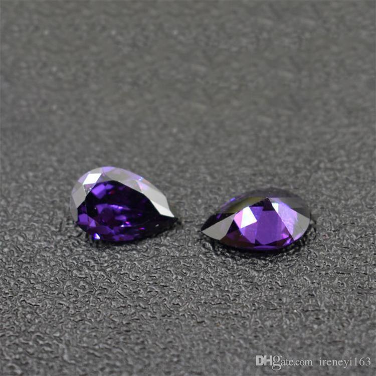 200pcs / lot 5x7m m-9x11mm 3A Cubic Zirconia sintético amatista Corte de pera piedras preciosas flojas 5 tamaños para la elaboración de joyas de plata esterlina al por mayor de