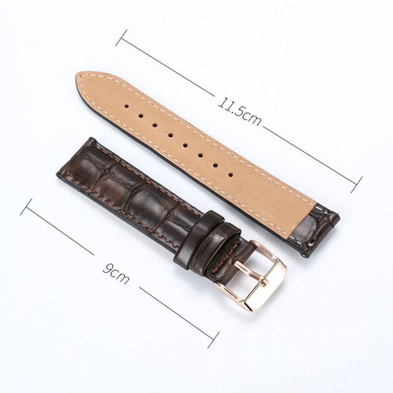 FUYIJIA nouvelle peau de Vache Bracelet boucle ardillon bande crocodile motif bracelet en cuir brun noir 12mm~20mm Ceinture Montre Accessoires Y200414