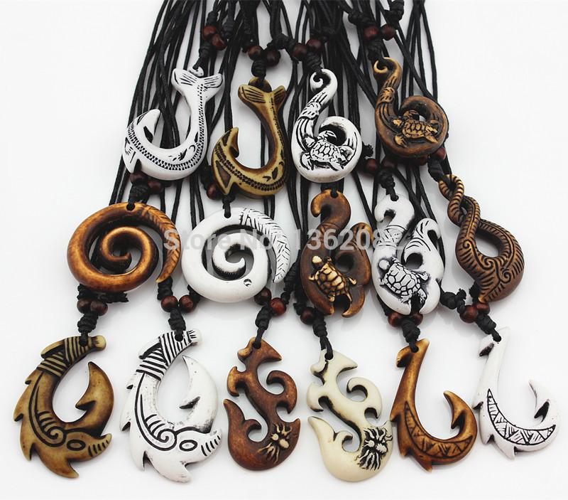 2020 Hot Mixed Hawaiian Jewelry Imitation Bone Carved Nz Maori Fish Hook Pendant Necklace Choker Amulet Gift Yn542 Y19050802 From Qiyue08 18 52 Dhgate Com