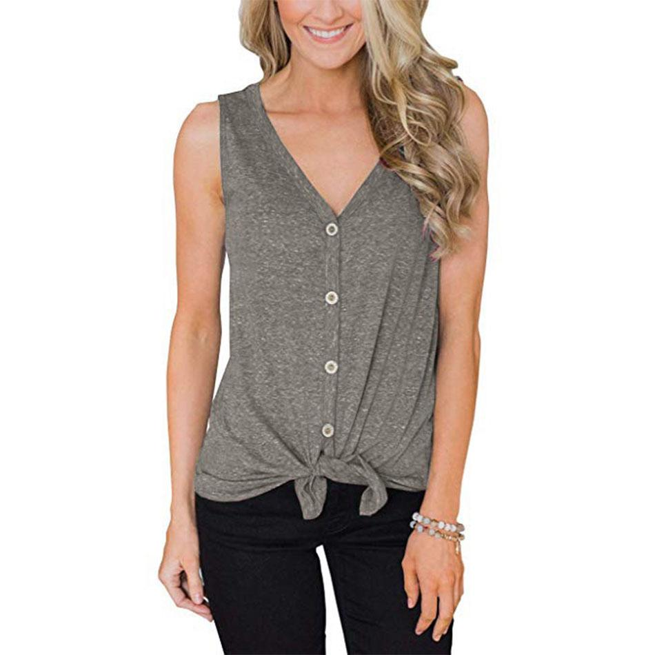 Tie Front Button Down Shirts Women Summer Sleeveless V Neck Loose Casual Plain Tunic Blouses Tank Top S-XXL