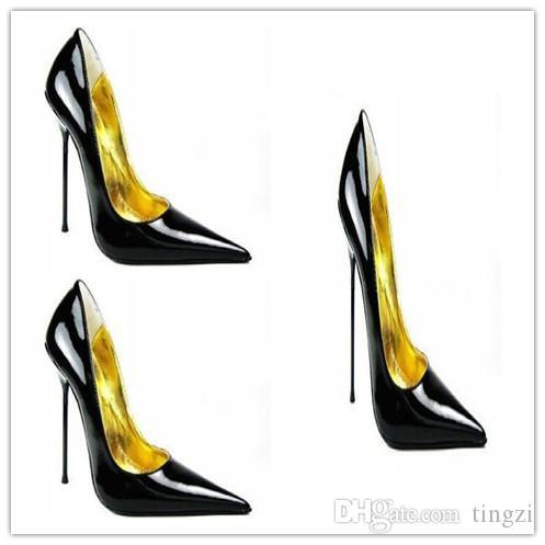 섹시 지적 발가락 12Cm 14Cm 숙 녀 높은 발 뒤꿈치 신발 Stilettos 금속 뒤꿈치 여성 펌프 패션 더하기 크기 신발 32-52