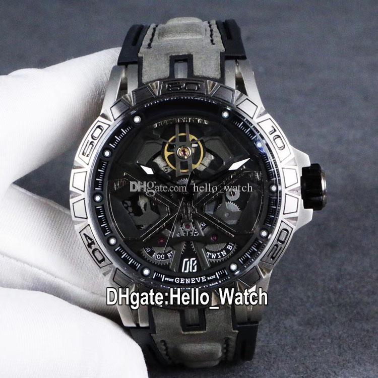 Luxe New Excalibur 46 RDDBEX0748 Automatique Tourbillon Mens Black Watch Skeleton Dial boîtier en acier gris en cuir Sport Montres Hello_Watch