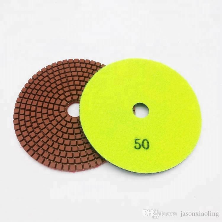 10 조각 돌 표면 처리를위한 5 인치 D125mm 연마 패드 각도 연마기를위한 7 단계 다이아몬드 유연한 습식 연마 패드
