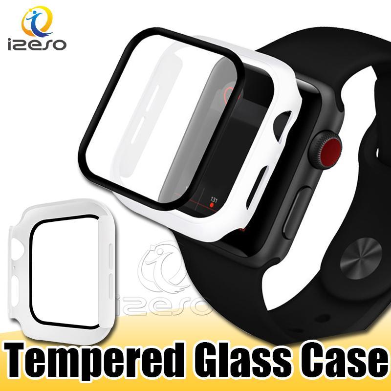 Für Apple Watch Series 5 4 3 2 Ausgeglichenes Glas-Film für iWatch Hüllen 38mm 44mm 9H Displayfolie Uhrabdeckung izeso