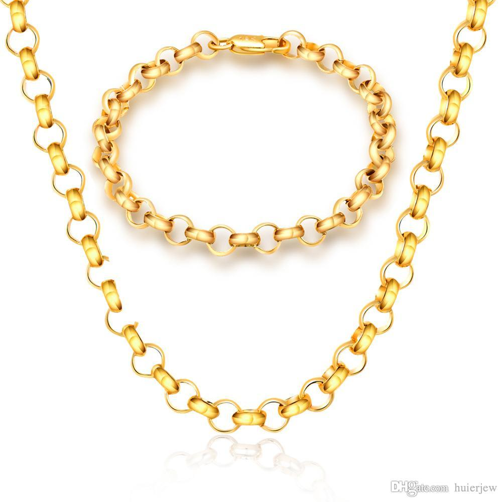 2020 Cuban Link Chain Necklace 18k Real Gold Plated 316l Stainless Steel Necklaces Men Jewelry Figaro Gold Chain Necklace From Huierjew 2 6 Dhgate Com