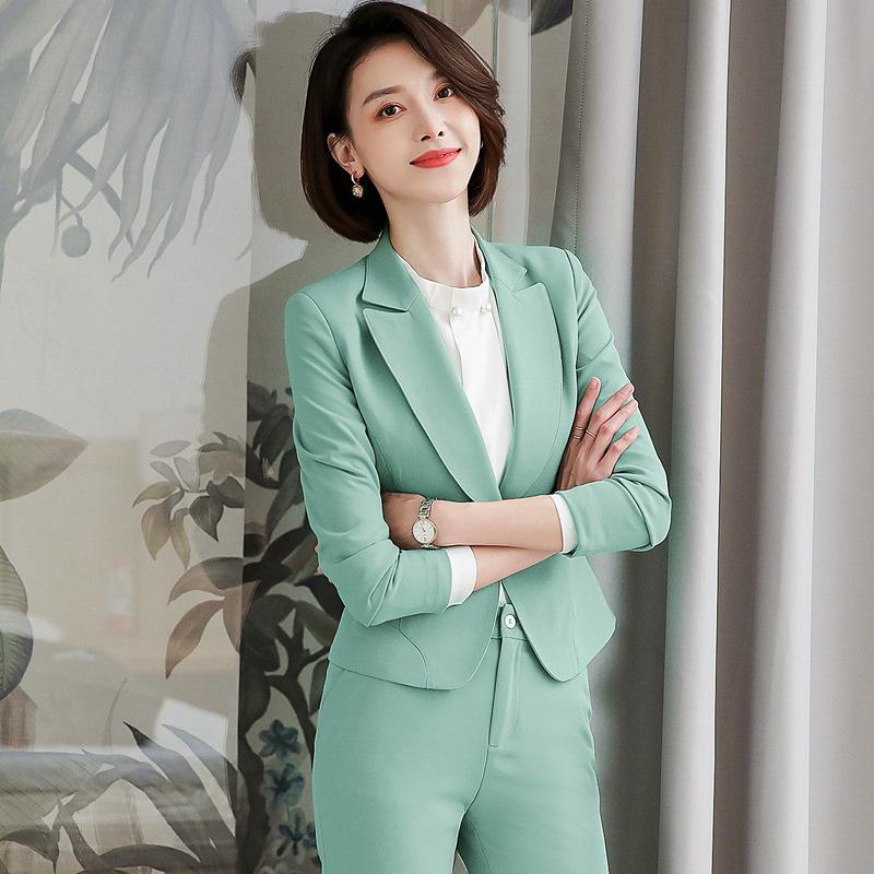 Damen Anzug Herbst neuer dünner dünner beiläufiger Berufsfrauen Normallackhosenanzug Temperament der Frauen zweiteiliger Anzug