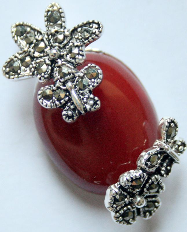 винтажное серебро 925 пробы натуральный 30*20 красный натуральный нефритовый цветок марказит кулон
