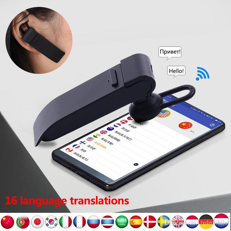 Mini Smart Voice Translator 16 lingue istantaneo Traduci Cuffie Cuffie Bluetooth Traduttore Cuffie Business Voice Translator Peiko