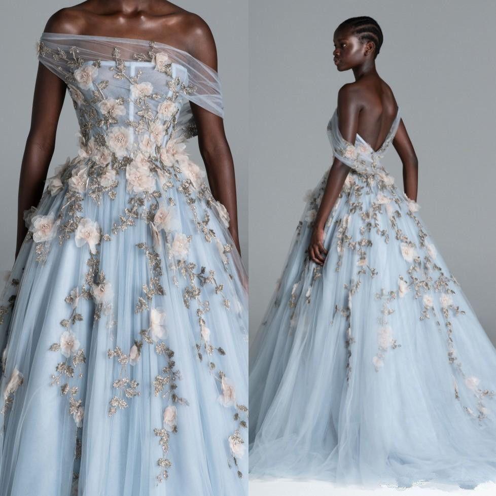 Abiti da Paolo Sebastian Backless in rilievo Prom fuori dalla spalla del collo appliqued gli abiti di sera Plus Size Sky Light Blue Tulle vestito convenzionale