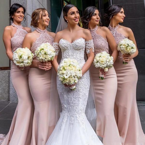 Sexy blozen roze kant geappliceerd zeemeermin bruidsmeisje jurken goedkope halter backless bruiloft gasten jurk lange formele feestavond prom dresses