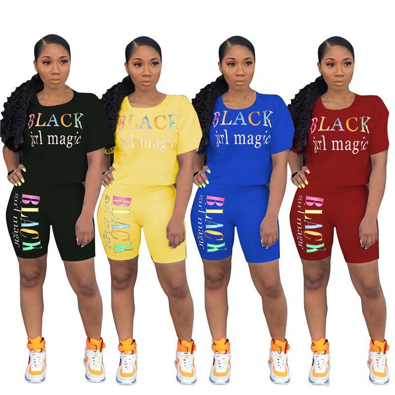 Lettre Imprimer Survêtement Femmes manches courtes T-shirt Tops + Shorts Ensemble 2 pièces T-shirt Magic Girl Noir Outfit été Vêtements de sport S-3XL 2020
