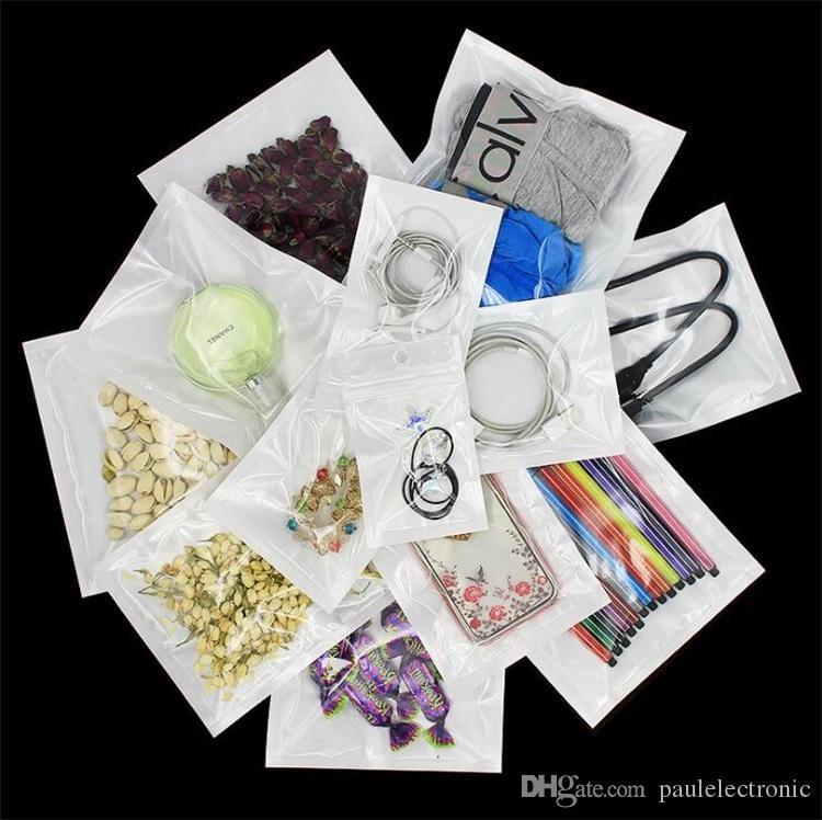 Multi-Size Ziplock Bags Pérola Filme Translúcido Plástico Embalagem Saco De Embalagem Sacos Para Dados Cabo Phone Case Jóias