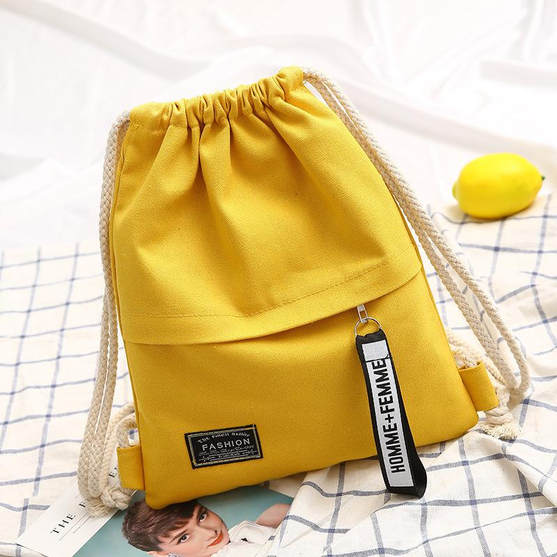Dropshipping! Fashion Canvas Drawstring Backpack Bag Portable Casual String Knapsack For Women Shoulder Bag 5 Colors Y19061301
