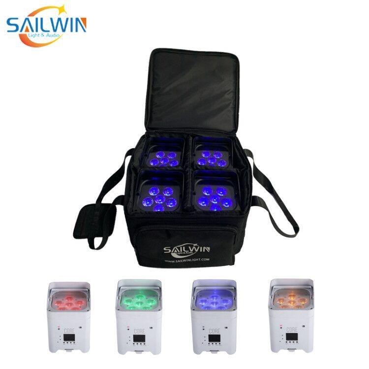 2lot 4x Sailwin 6x18W RGBWA + UV 6IN1 LED PAR DJ Disco Etapa Light DMX Batería Wireless LED Par Light Smart Mobile Par Can Proyector Wih Bolsa de viaje