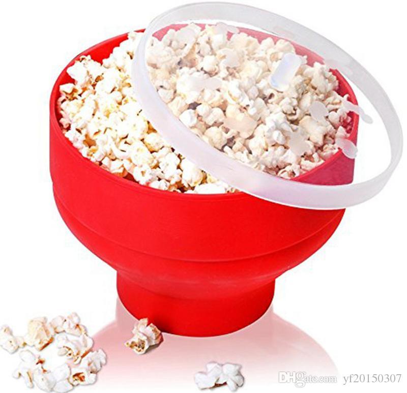 Silikon Popcorn Bowl Makinesi Bowl Mikrodalga Güvenli Popcorn Ev için mikrodalgada Bakingwares Kepçe