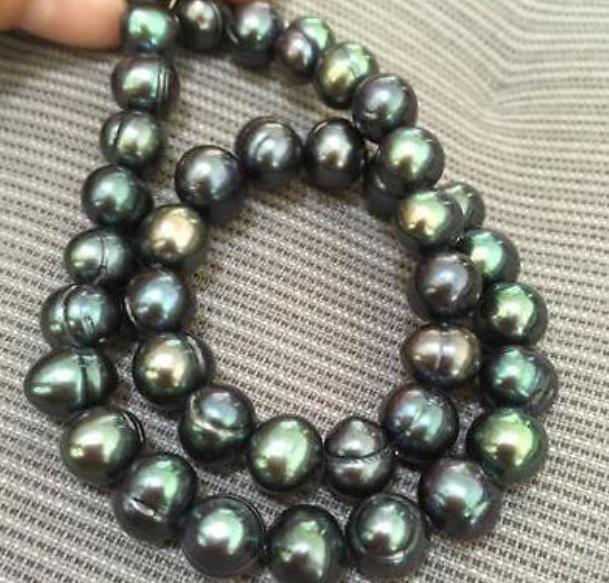 10-11mm барокко Южных морей Черный Зеленый Жемчужное ожерелье 18inch 14k золото Застежка