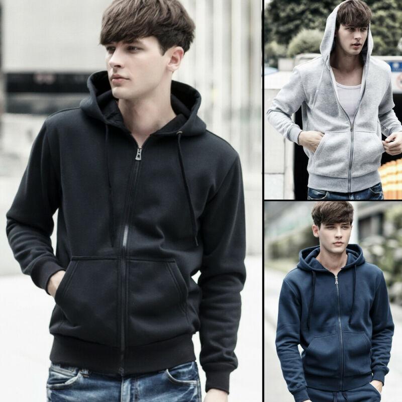 Venta caliente caliente del invierno de los hombres de manga larga con capucha para niños Casual Male suéter con capucha abrigos 3 colores más el tamaño