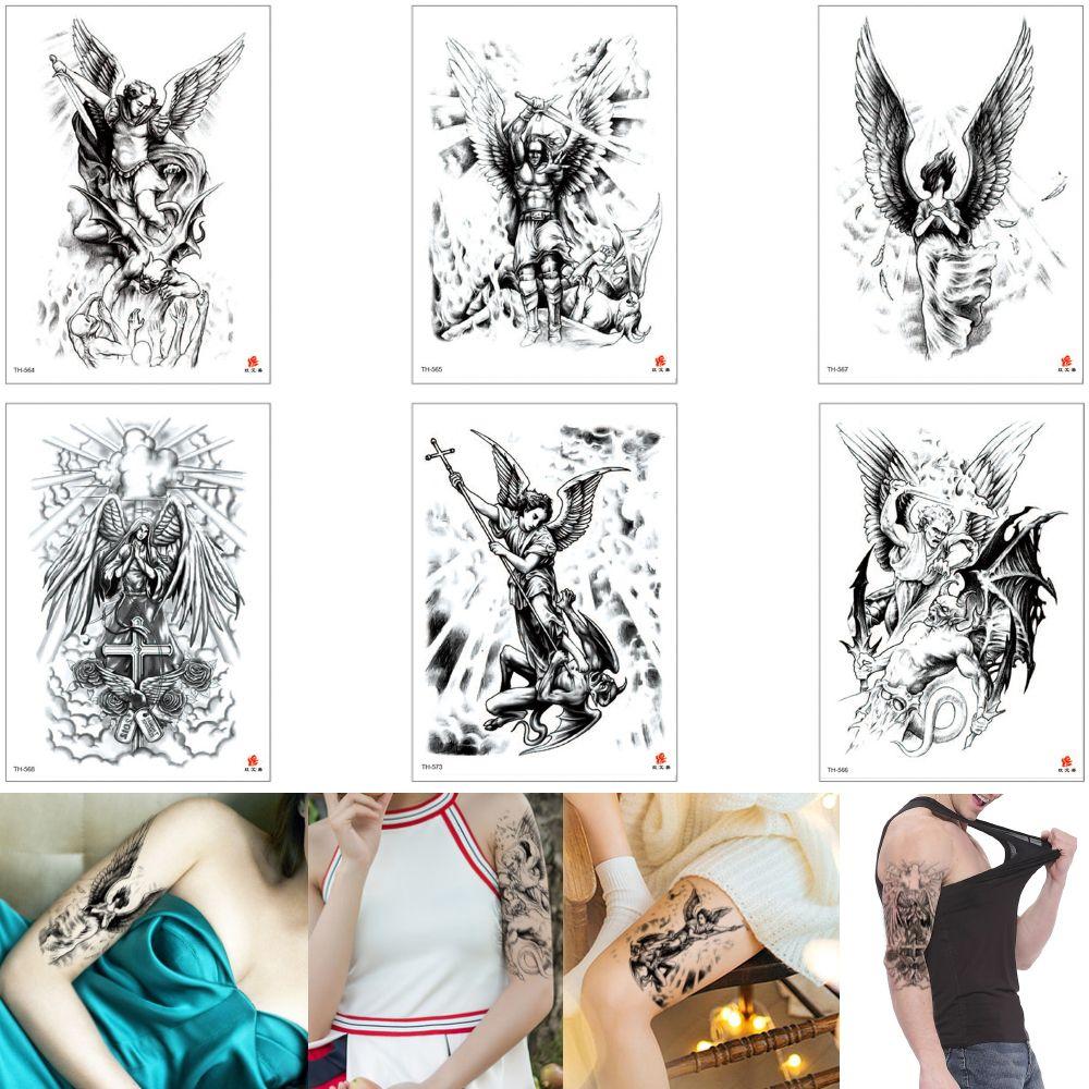Acheter Art Faux Corps Noir Sexy Tatouage Aile Dange Guerrier Grec Ancien Diable Conception De Tatouage Temporaire Autocollant Etanche Pour Bras Homme Femme Jambe Arriere De 0 6 Du Homimly Dhgate Com