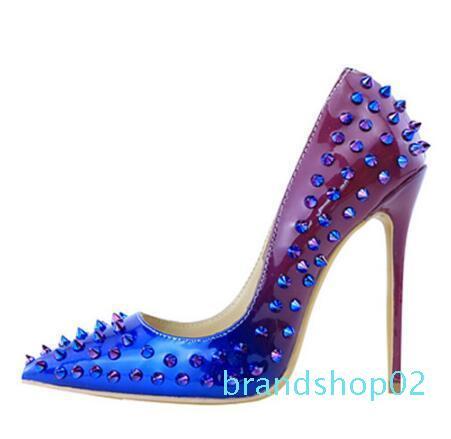Hot Sale-Toe Pointu Classics Pompes Gradiernt Clolr Rivets mince haut talon femmes Stilettos Designer Ladies Bureau Chaussures Zapatos Mujer