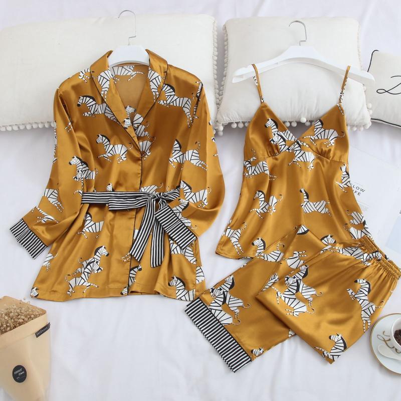 Abito di seta raso Sexy Pajamas Set Donne Pigiameria Zebra accappatoio giallo casa Fashion Wear Notte del vestito di svago delle signore Loungewear