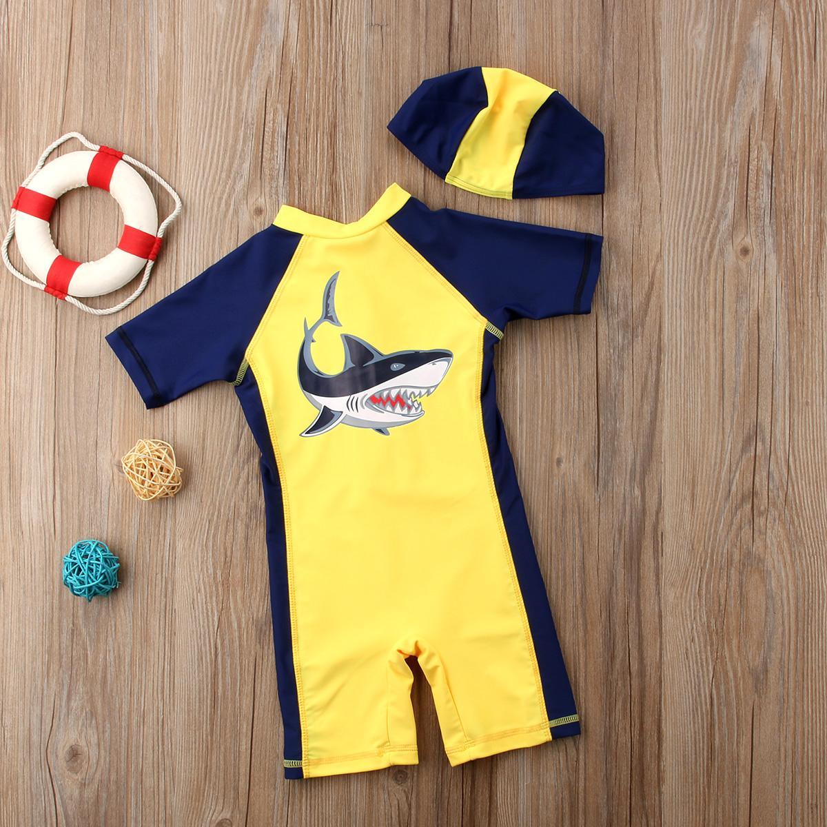 UK Cute Baby Kid Boy Shark Beach Swimwear Swimsuit Swimming Costume+Hat Set 1-6T
