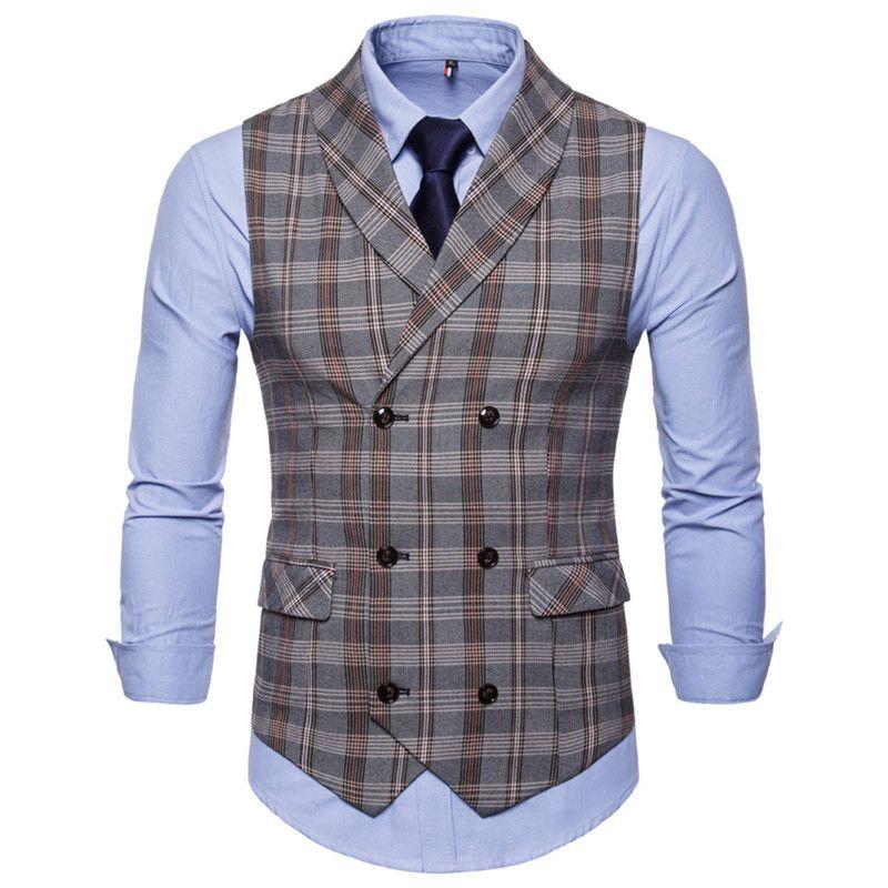 2019 nuovo modo degli uomini casuale del vestito casuale di base della maglia maschio panciotto di Gilet Homme a quadri senza maniche Slim Fit sociale Suit Vest