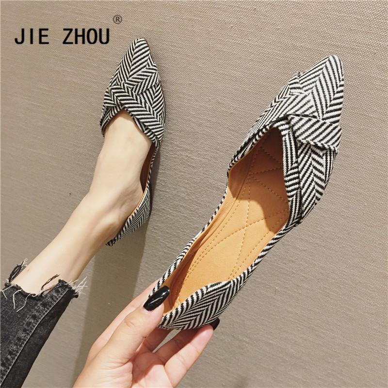 2020 fond plat des femmes dernières chaussures bateau plat rayé orteil peu profond d'été a chaussures plates confortables occasionnel chaussures pour femmes