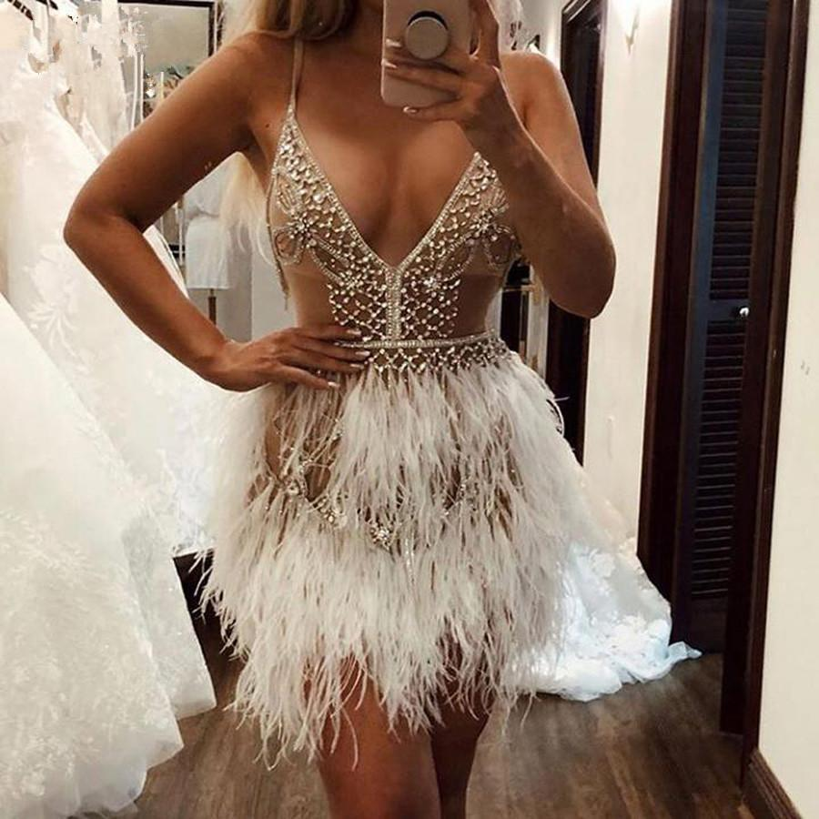 2020 Luxury Feather Crystal Short Prom Party Dresses Formal Dress Sexy Mini Deep V Neck Custom Made Homecoming Cocktail Gowns