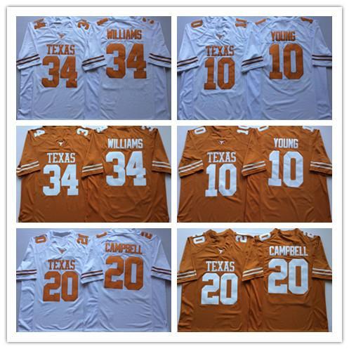 2019 Texas Longhorns Vince Young College Camisetas de fútbol 20 Earl Campbell 34 Ricky Williams Camisetas de la Universidad NCAA cosidas Blanco Amarillo