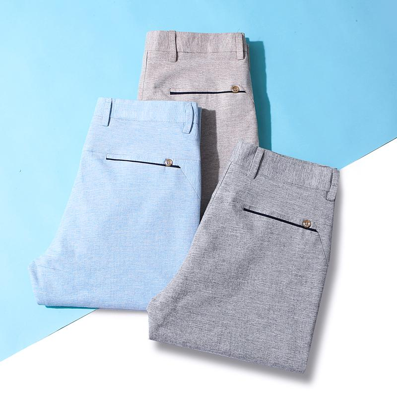 QUANBO Summer Breathable Cotton Linen Mens Casual Pants 2019 New Arrival Slim ElasticThin Comfortable Trousers Brand Clothing