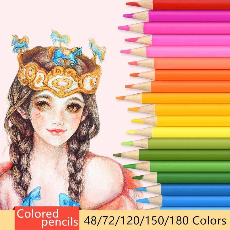 Lápices de acuarela lápices de colores aceitosos conjunto para estudiantes de arte profesionales 48/72/120/150/160/180 colores