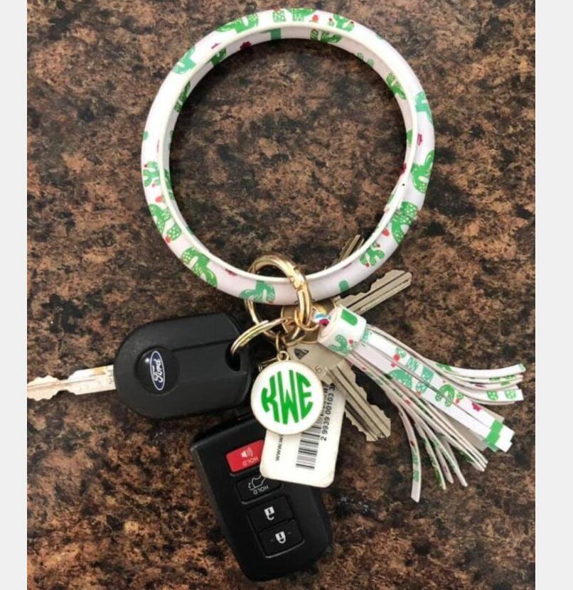 Strap Monograma Boho Pulseira de couro Leopard Keyring Wristlet O anel chave de pulso, Key Organizer Titular Jóias