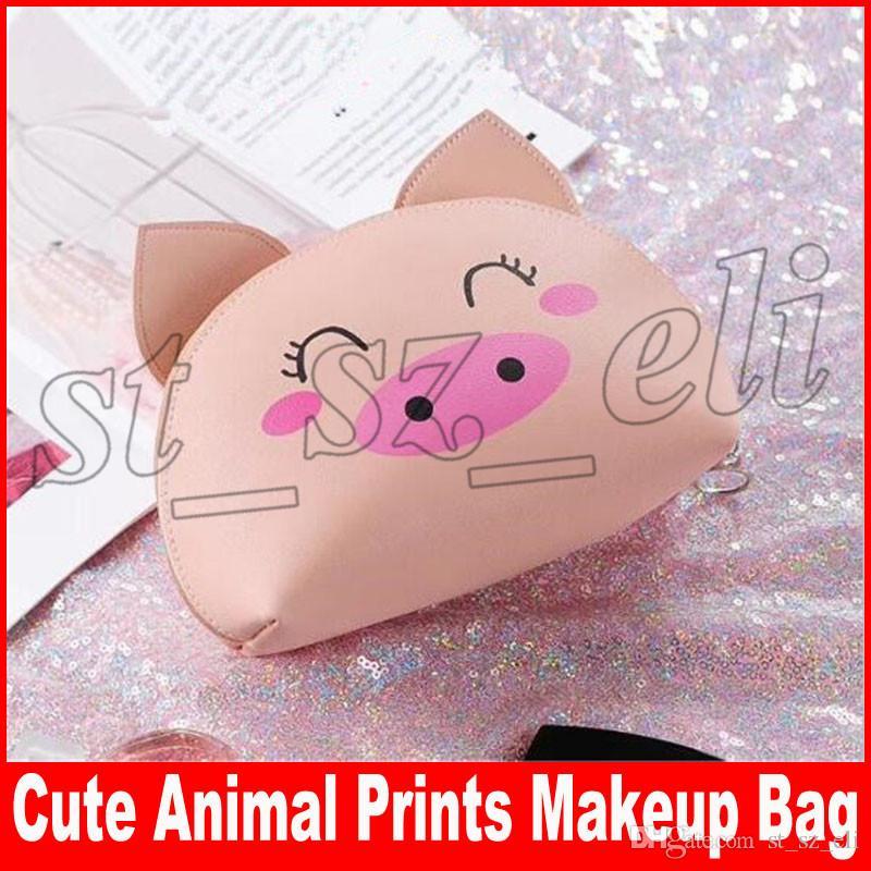 Cute PU Makeup Bag Animal Printing Cosmetic Bags Storage Cases Waterproof Zipper Pencil Bag Pig Bear Makeup Organizer