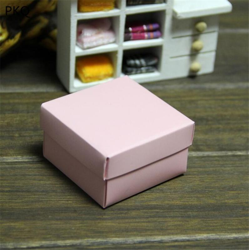 50pcs Baby Pink Cardboard Mini Box SIZE 6.5*6.5*3.8cm Handmade Paper Candy Box Soap Jewelry Packing Gift
