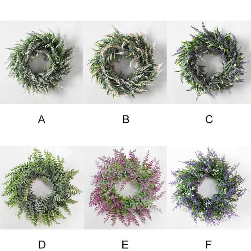 Nordic style artificiel nouvelle usine Couronne de Noël de l'an Garland pour la décoration de mariage Porte décoration Pendentif herbe anneau