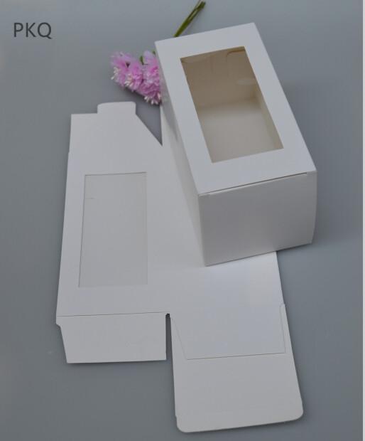 50PCS ورقة بيضاء التعبئة مربع مع نافذة واضحة من البلاستيك، مربع عرض المجوهرات هدية / تفضل الحرفية أهدي