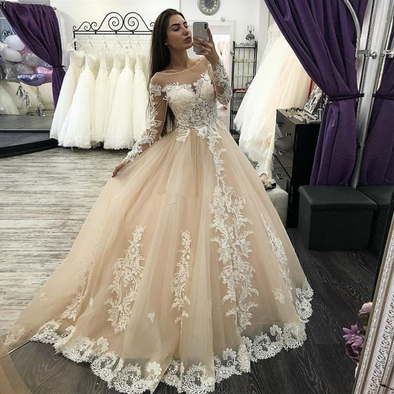 Más nuevo champán vestido de bola vestidos de novia cuello cuello boda vestidos nupciales manga larga apliques país vestido de novia Vestido de novia