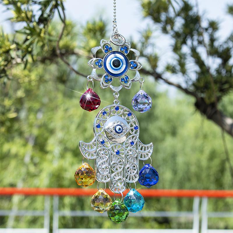 H&D Chakra Energy Crystal Balls Suncatcher Hamsa Hand of Fatima Turkish Blue Evil Eye For Home Garden Hanging Decor Lucky Gift
