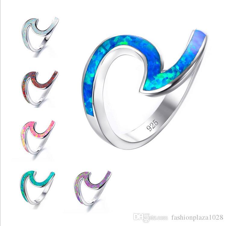 Luckyshine 5 teile / los Hohe Qualität Natürliche Multi-Color White Opal Gem 925 Sterling Silber Frauen Ringe Schmuck Freies Verschiffen