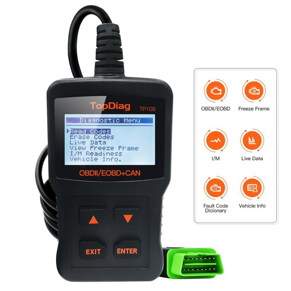 JDIAG scanner TP109 engine fault code reader CAN diagnostic scan tool for compatible EOBD vehicles