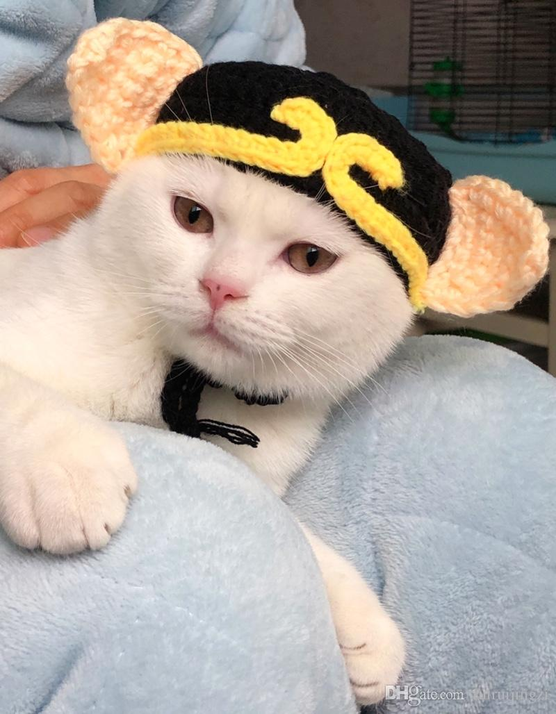 2019 Nueva mascota gato sombrero británico corto muñeca Gaffa azul gatito blanco cerdo ocho anillos de Halloween divertido cachorro de lana sombrero